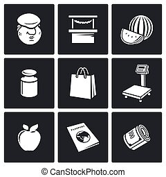 Trading on the market icons Vector Illustration - Vector...