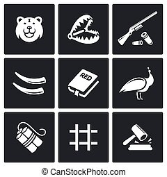Poaching icons Vector Illustration - Vector Isolated Flat...