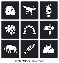 Stone Age and Dawn of the Dinosaurs icons Vector...