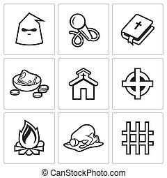 False religion, sect icons Vector Illustration - Vector...