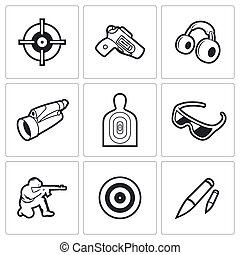 Shooting gallery icons Vector Illustration - Vector Isolated...