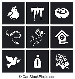 Spring mood Icons. Vector Illustration. - Vector Isolated...