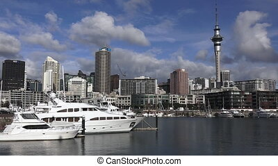 Yachts mooring at Auckland Viaduct Harbor Basin.It's a...