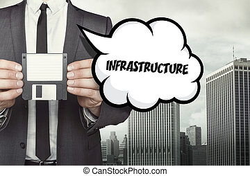 Infrastructure text on speech bubble with businessman...