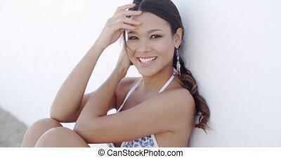 Close Up Portrait of Beautiful Brunette Woman - Close Up...