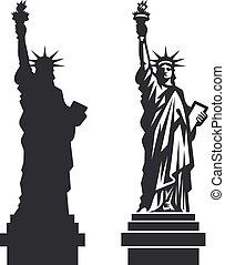 New York Statue of Liberty Vector silhouette - Double...