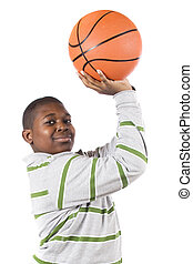 Basketball Setup - Close-up of a ten-year old African...