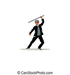Bartitsu Mixed Martial Arts A man with a cane Vector...