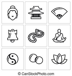 Buddhism icons set Vector Illustration - Vector Isolated...