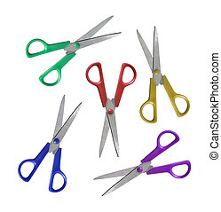 different scissors isolated on the white background