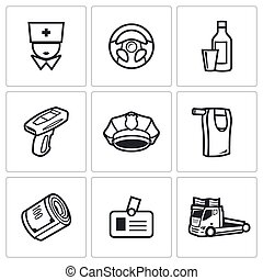 Drunken driving icons set. Vector Illustration. - Vector...