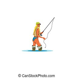 Woman Holding a Fishing Rod sign. Vector Illustration. -...
