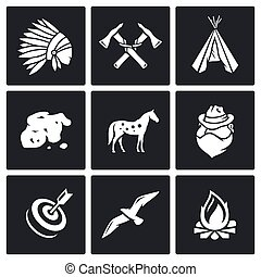 Indians Wild West and the Gold Rush icons set. Vector...