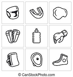 Sports Equipment for martial arts icons set. Vector...