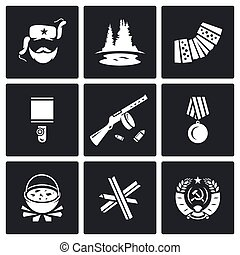 Guerrillas warrior icons set. Vector Illustration. - Vector...