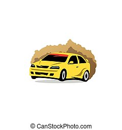 Rally sign The racing car in the dust Vector Illustration -...