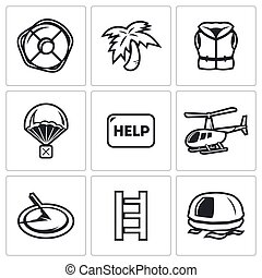 Rescue operation icons set. Vector Illustration. - Vector...