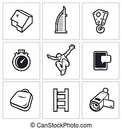 Roofer icons set. Vector Illustration. - Vector Isolated...