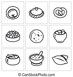 Russian traditional cuisine icons set. Vector Illustration.