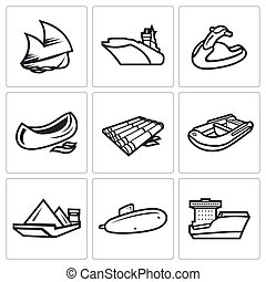 Water transport icons set Vector Illustration - Vector...