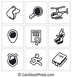 Search, prosecution escaped convict icons set Vector...