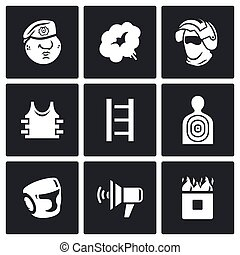 Russian special forces icons set. Vector Illustration. -...