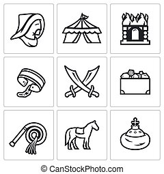 Mongol-Tatar yoke icons set Vector Illustration - Vector...