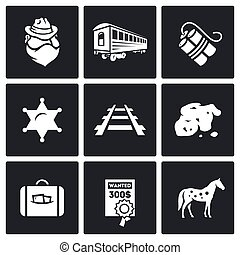 Train robbery in the Wild West icons set. Vector Illustration.
