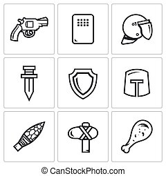 The evolution of weapons icons set. Vector Illustration. -...