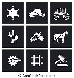 Justice in the wild west icons set. Vector Illustration. -...