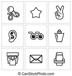 Blind listening songs artist icons set. Vector Illustration.