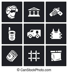 Security Bank and money transport icons set Vector...