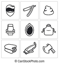 Male salon haircut beard, mustache and hairstyle icons set. Vector Illustration.