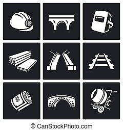 Bridge construction icons set. Vector Illustration. - Vector...