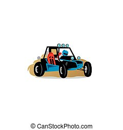 Buggy race car sign Vector Illustration - Branding Identity...