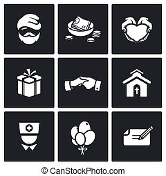 Charity. Help the homeless and poor people icons set. Vector...