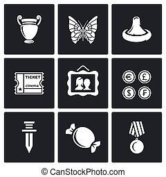 The hobby of collecting icons set Vector Illustration -...