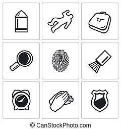 Criminalistics Search criminal icons set Vector Illustration...
