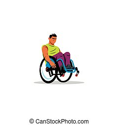 Man in wheelchair sign. Vector Illustration. - Branding...