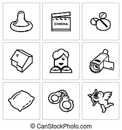 Erotic movies icons set Vector Illustration - Vector...