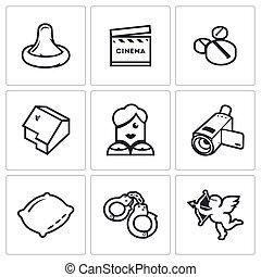 Erotic movies icons set. Vector Illustration.