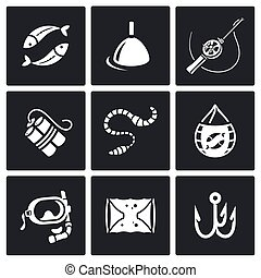 Fishing icons set. Vector Illustration. - Vector Isolated...
