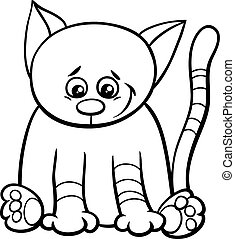 cute kitten coloring book - Black and White Cartoon...