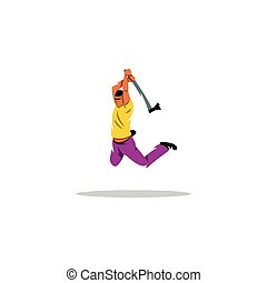 Man jumping with an ax sign. Vector Illustration. - Branding...
