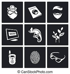 Masking of humans and animals icons set. Vector...
