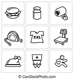 Fighting obesity organism icons set Vector Illustration -...