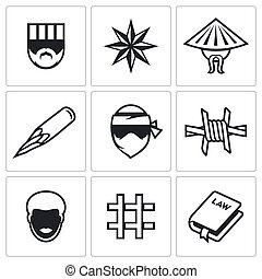 Criminal racial groups in prison icons set Vector...