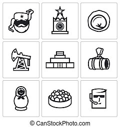 Russian, food, attraction, industry icons set. Vector...