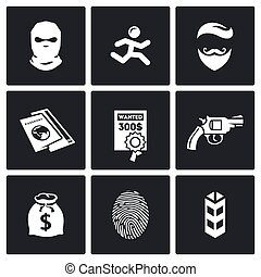 Criminal on the run and wanted icons set Vector Illustration...