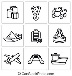 Delivery of goods in different ways icons set. - Flat Icons...